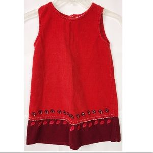 DPam Imported Corduroy Red Patch Leaves Dress